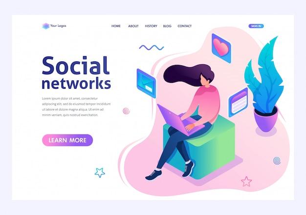 La ragazza comunica in un social network tramite il computer portatile. dei social network. 3d isometrico Vettore Premium