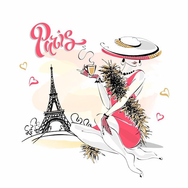 La ragazza con il cappello beve caffè. modella a parigi. Vettore Premium