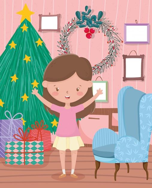 La ragazza con il sofà dei regali dell'albero incornicia il buon natale di celebrazione del salone Vettore Premium