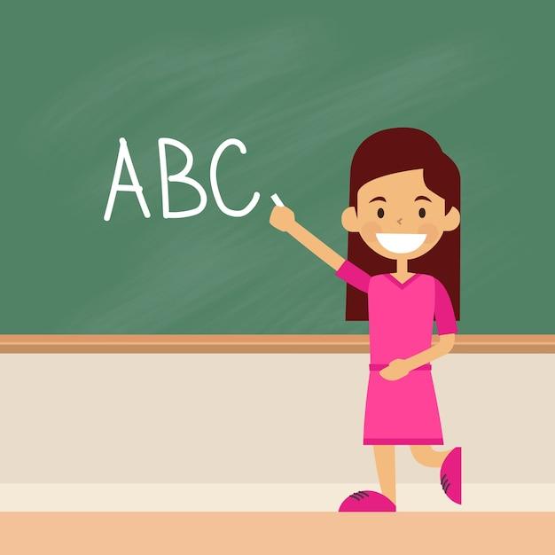 La ragazza della scuola scrive sull'alfabeto delle lettere del bordo verde Vettore Premium