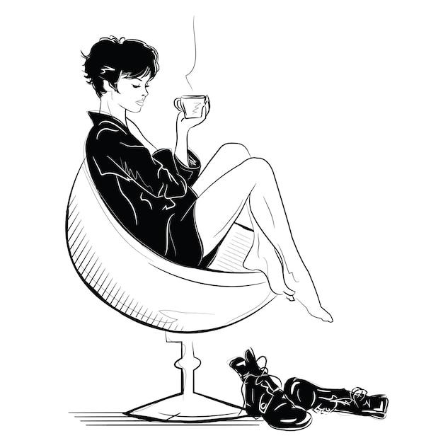 La ragazza di moda in schizzo si rilassa con una tazza di caffè. Vettore Premium