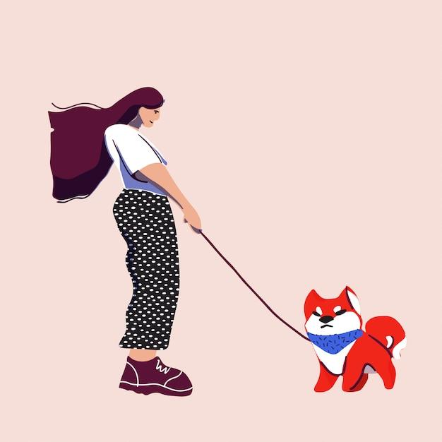 La ragazza e il cane amano camminare. illustrazione piatta dei cartoni animati. concetto di estate all'aperto. Vettore Premium
