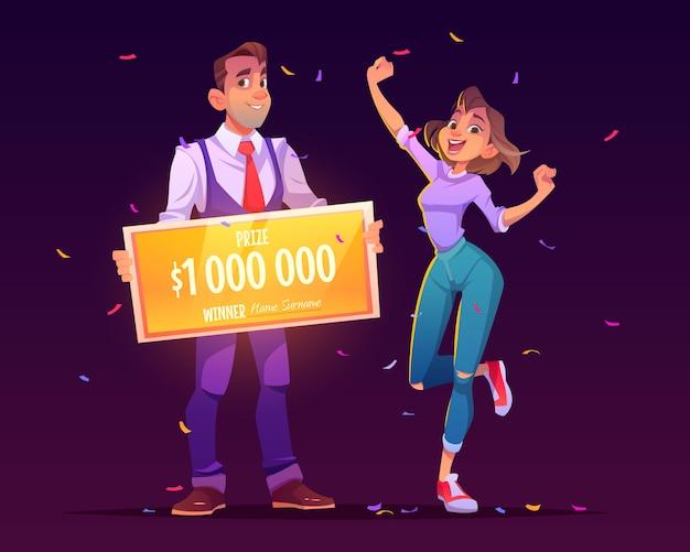 La ragazza fortunata vince il jackpot della lotteria per milioni di dollari Vettore gratuito