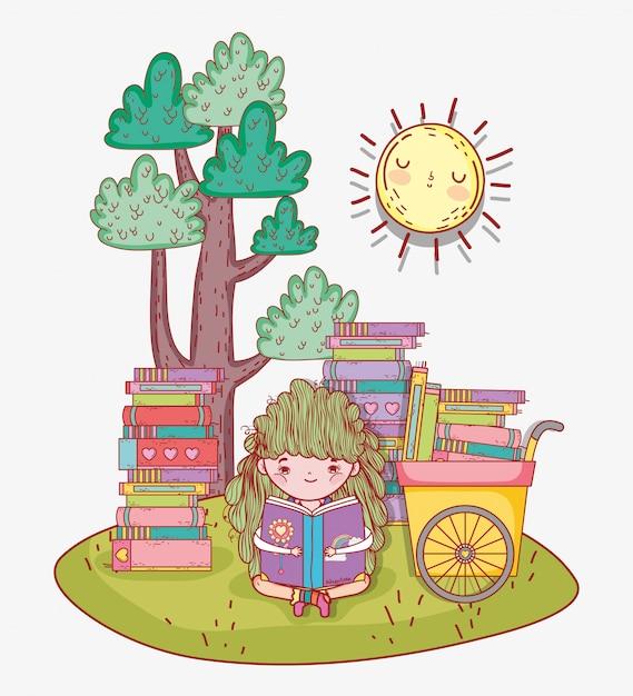 La ragazza ha letto libri con carrello a mano Vettore Premium