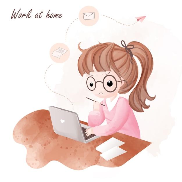 La ragazza lavora a casa e prova a inviare lavoro via e-mail. Vettore Premium