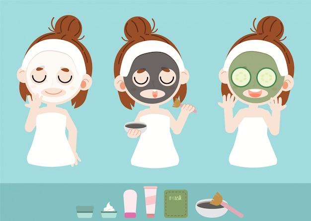 La ragazza le prende il viso con la maschera facciale Vettore Premium