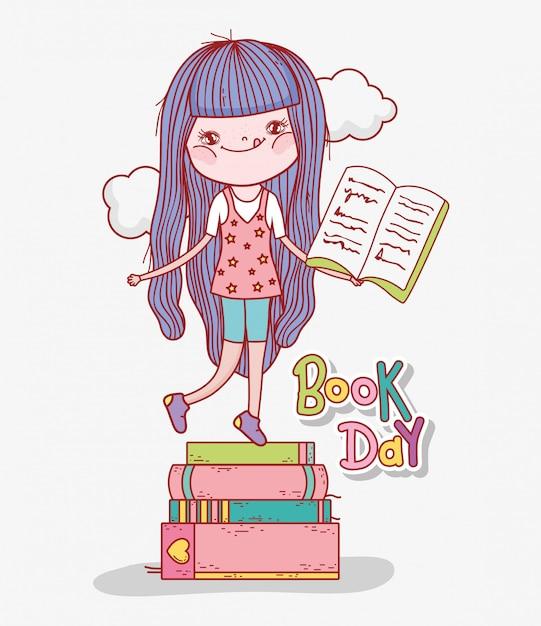 La ragazza legge i libri per imparare nel giorno della letteratura Vettore Premium