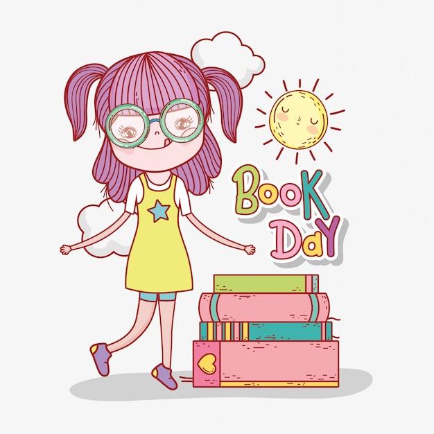 La ragazza legge le informazioni sui libri per imparare Vettore Premium