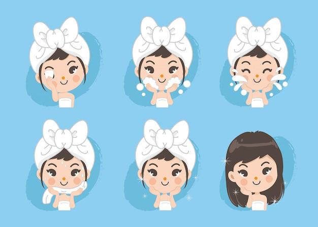 La ragazza mostra la procedura per pulire la faccia Vettore Premium