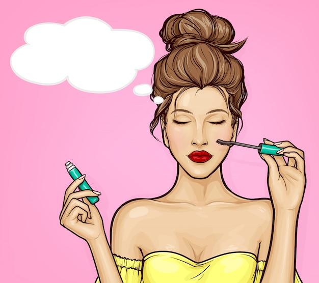 La ragazza pop art con gli occhi chiusi applica il mascara Vettore gratuito
