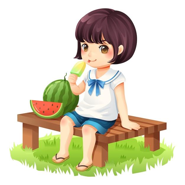 La ragazza sta mangiando il gelato seduto su una sedia di legno Vettore Premium