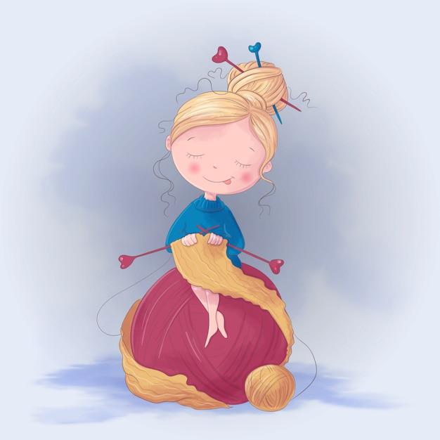La ragazza sveglia del fumetto lavora a maglia un'illustrazione della sciarpa Vettore Premium