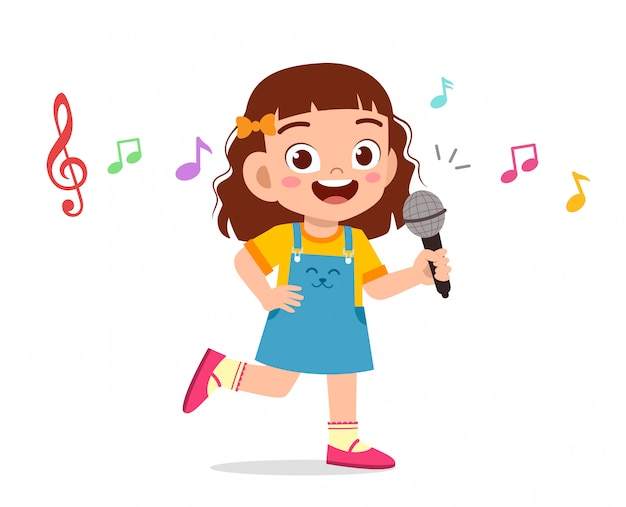 La ragazza sveglia felice del bambino canta con il sorriso Vettore Premium