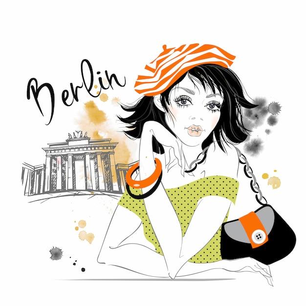 La ragazza viaggia in germania. berlino. cancelli del brandeburgo. Vettore Premium