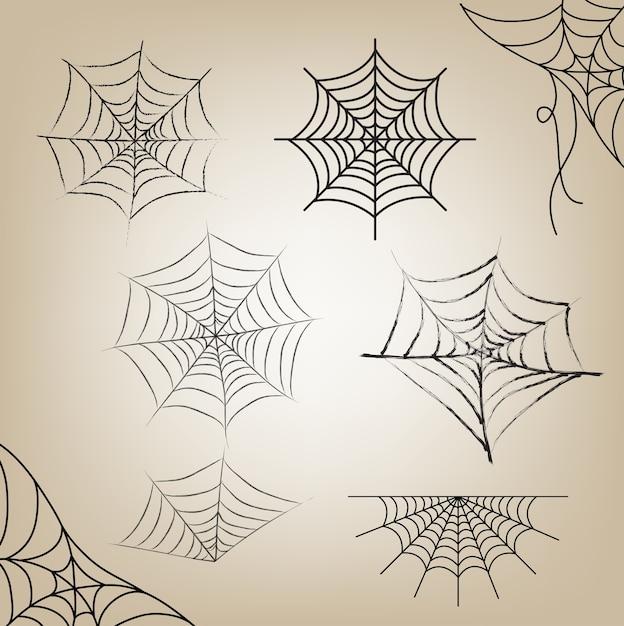 La ragnatela ha messo halloween per l'oggetto il giorno di halloween Vettore Premium