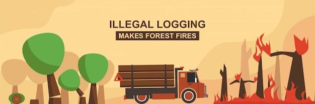 La registrazione illegale provoca incendi boschivi Vettore Premium
