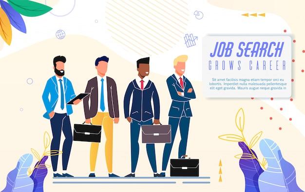 La ricerca di lavoro luminosa del manifesto aumenta l'iscrizione di carriera. Vettore Premium