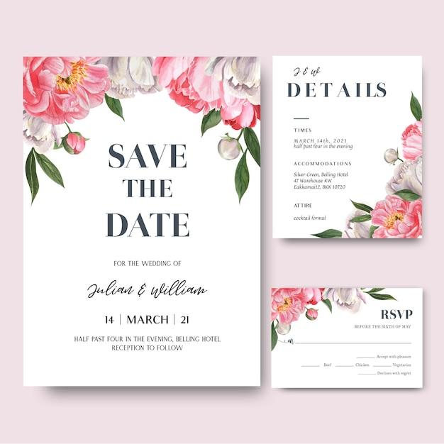 La rosa peonia fiorisce la carta dell'invito dei mazzi dell'acquerello, conserva la data Vettore gratuito