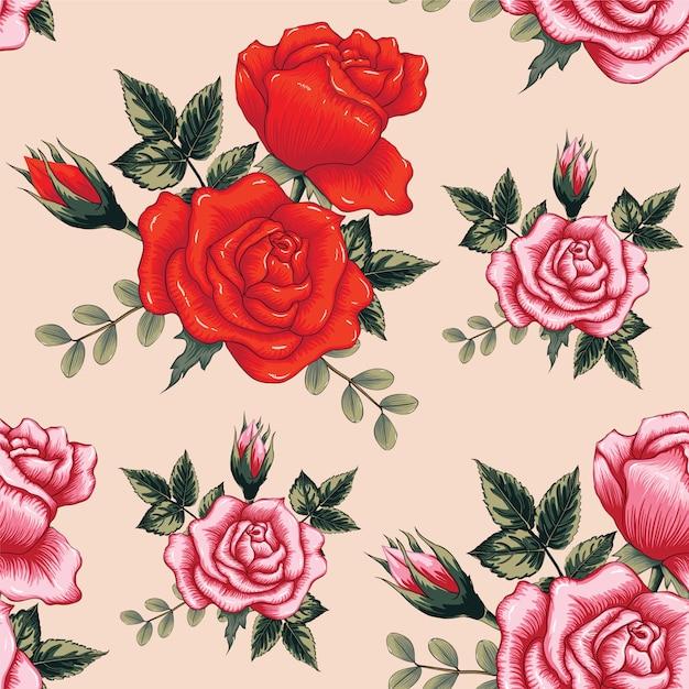 La rosa rossa del modello senza cuciture fiorisce il fondo. Vettore Premium