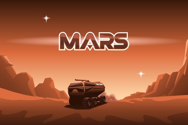 La rover viaggia su marte. Vettore Premium