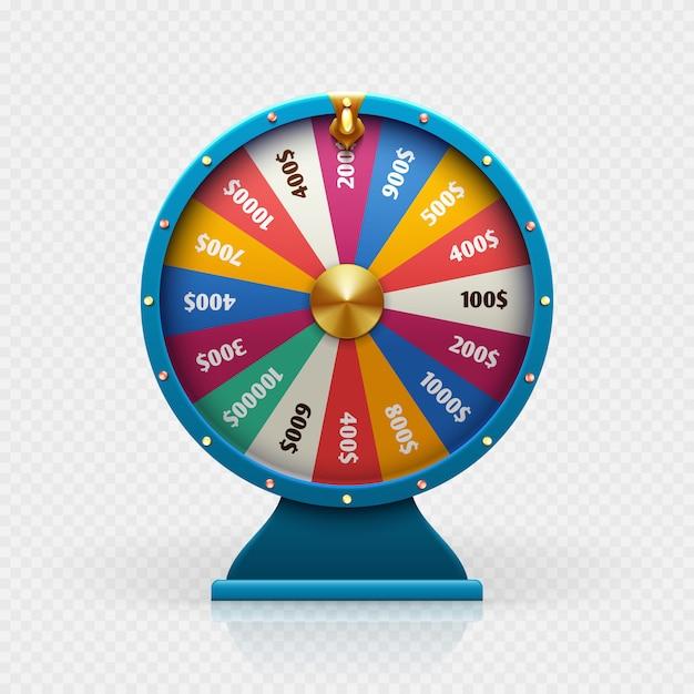 La ruota di fortuna delle roulette 3d ha isolato l'illustrazione di vettore per il concetto di vittoria di fondo e di lotteria di gioco. Vettore Premium