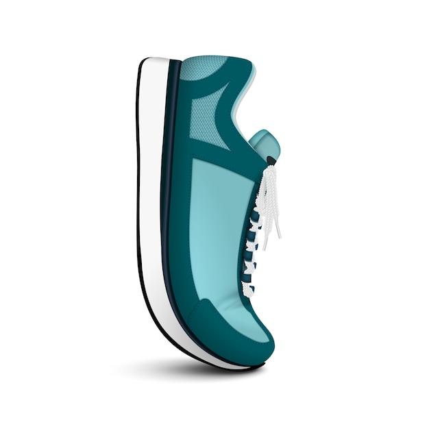 La scarpa da corsa di allenamento sportiva unisex ha isolato la vista laterale realistica della sneaker alla moda verde posizionata verticalmente Vettore gratuito