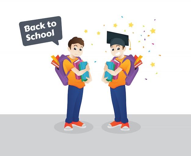 La scuola elementare del personaggio va a scuola Vettore Premium