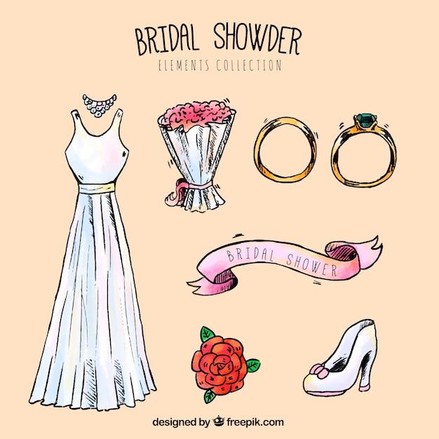 La selezione di accessori da sposa decorativi Vettore gratuito