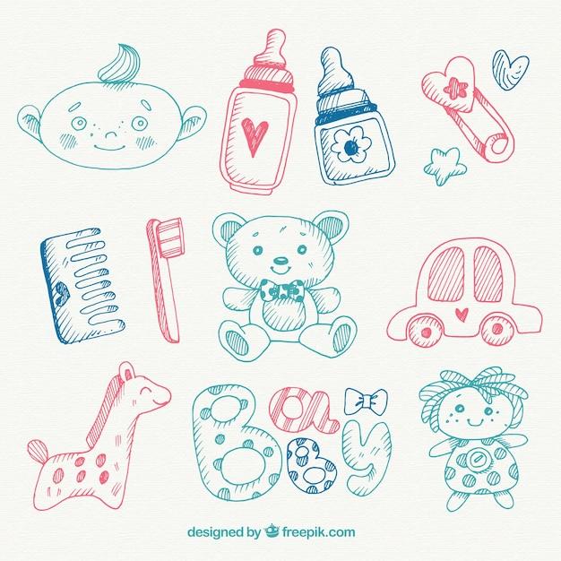 La selezione di oggetti per bambini disegnati a mano for Disegni mobili