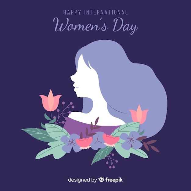 La siluetta della ragazza con la priorità bassa di giorno delle donne dei fiori Vettore gratuito