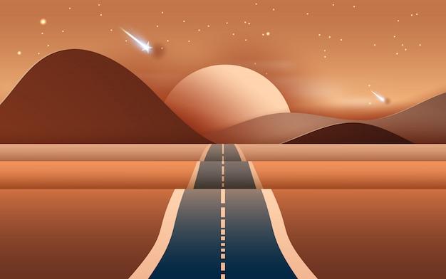 La strada del paesaggio alle montagne asciuga il deserto Vettore Premium