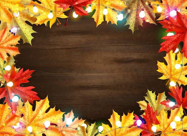 La struttura alla moda di giorno di ringraziamento con le foglie di acero e le luci sul fondo di legno di marrone scuro vector l'illustrazione Vettore gratuito