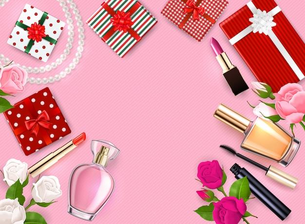 La struttura del flatlay del giorno di madri con le profumerie cosmetiche dei regali fiorisce sull'illustrazione rosa del fondo Vettore gratuito