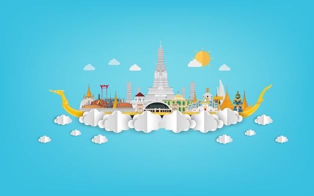 La tailandia stupefacente con le attrazioni sull'illustrazione blu del papercut Vettore Premium