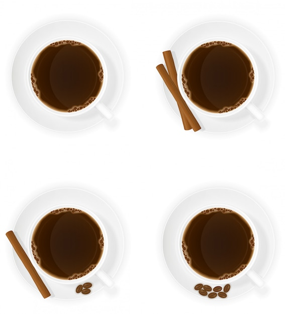 La tazza di caffè con il bastoncino di cannella attacca l'illustrazione di vettore di vista superiore dei fagioli e dei fagioli Vettore Premium