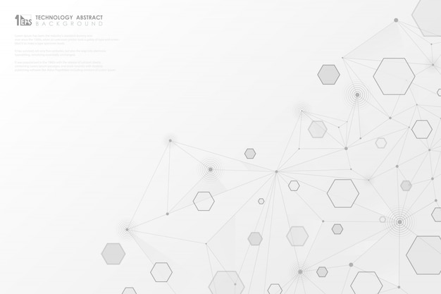 La tecnologia astratta grigia geometrica esagono allinea il collegamento su fondo bianco Vettore Premium