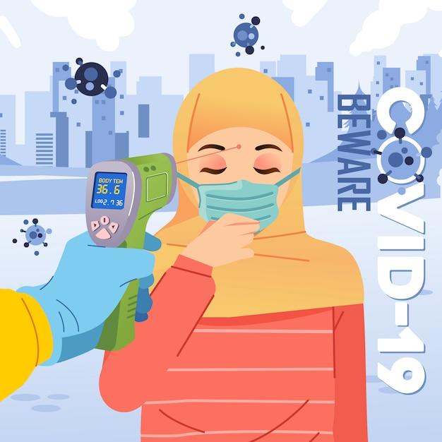 La temperatura corporea della pistola termica controlla le donne hijab che indossano l'illustrazione di maschera e tosse vetor Vettore Premium