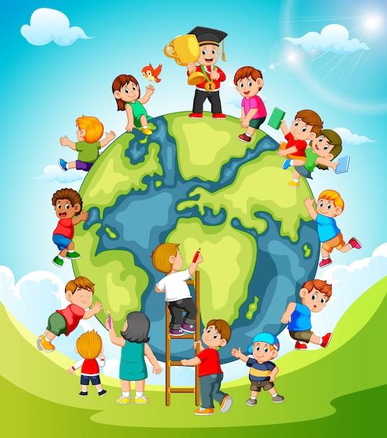 La terra con i bambini che giocano intorno ad essa Vettore Premium