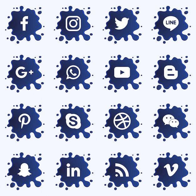 La terza raccolta inferiore dei social media con spruzzi di vernice. vettore Vettore Premium