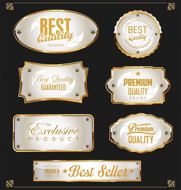 La vendita dorata identifica la retro raccolta di disegno dell'annata Vettore Premium