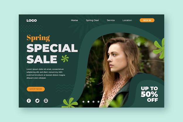 La vendita primaverile speciale offre landing page Vettore gratuito