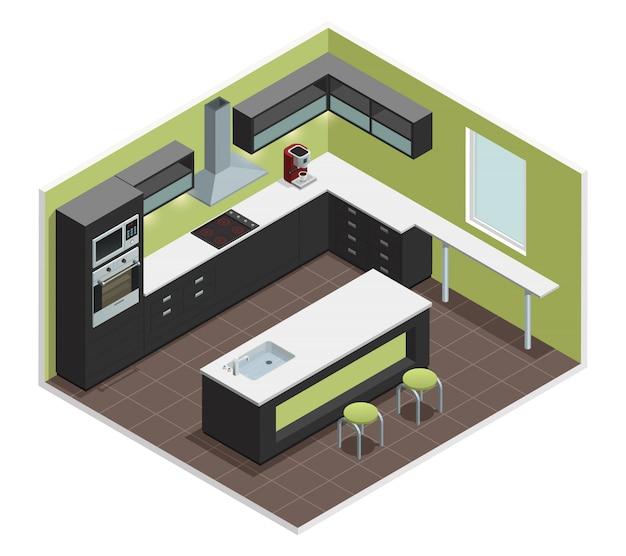 La vista interna della cucina moderna con la contro stufa del fornello della gamma fornice il frigorifero del frigorifero Vettore gratuito