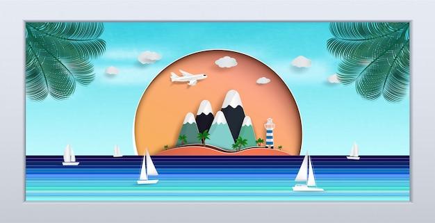 La vista sul mare naturale nella cornice. il disegno è durante l'estate. Vettore Premium