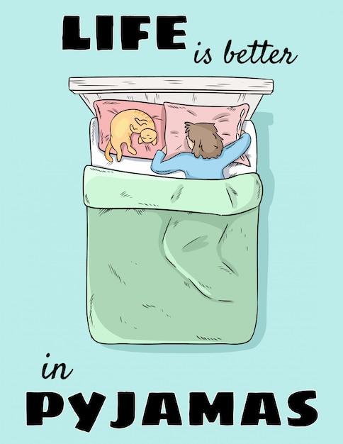 La vita è migliore in pigiama. ragazza che dorme nel letto con il gatto in pigiama Vettore Premium