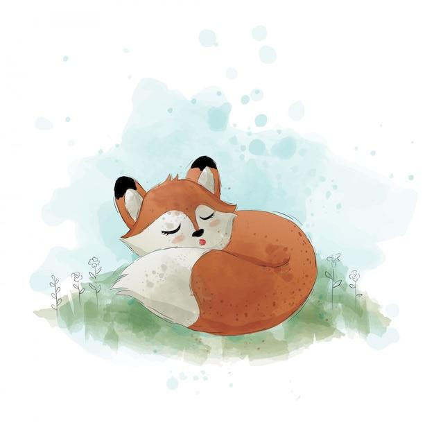 La volpe carina sta dormendo Vettore Premium