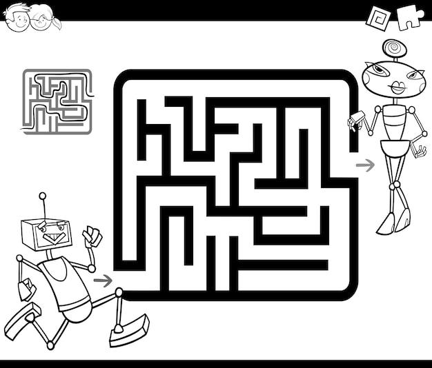 Labirinto Con Robot Da Colorare Vettore Premium