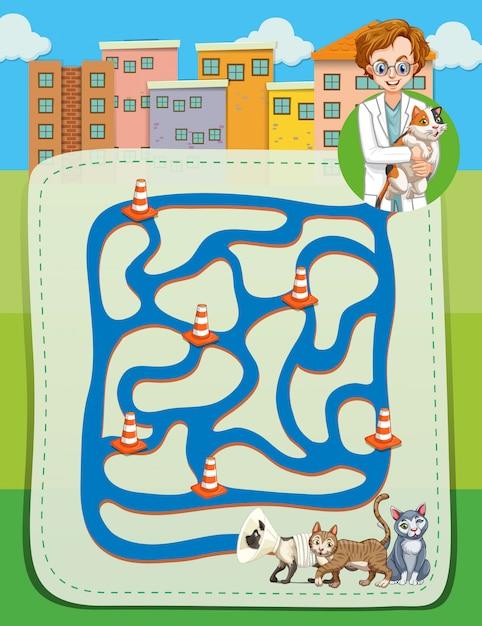 Labirinto con veterinario e gattini Vettore gratuito