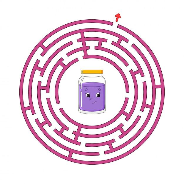 Labirinto divertente cerchio. Vettore Premium