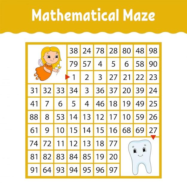 Labirinto matematico Vettore Premium