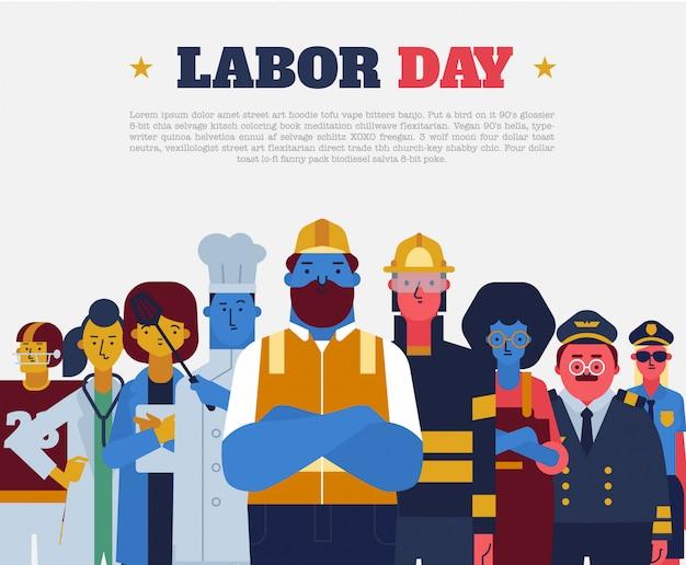 Labor day flat vector Vettore Premium